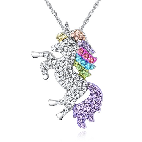 Multi-Colored with Genuine Crystal Unicorn Pendant Necklace