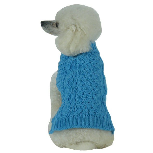 Swivel-Swirl Heavy Cable Knitted Fashion Designer Dog Sweater