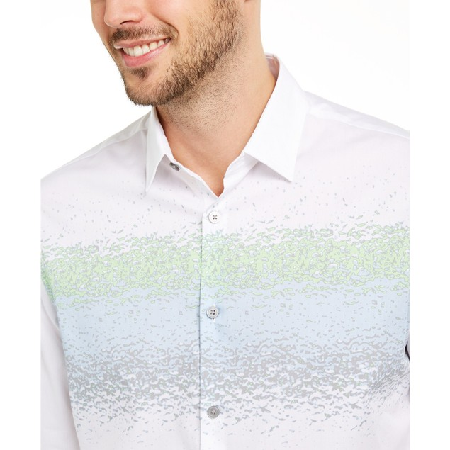 Alfani Men's Classic-Fit Abstract-Stripe Shirt White Size Small