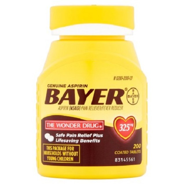Bayer Aspirin 325 mg Coated Tablets 200 Count Bottle