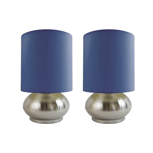 Simple Designs 2 Pack Mini Touch Lamp with Brushed Steel Base