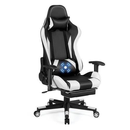 Costway Massage Gaming Chair Recliner Gamer Racing Chair w/ Lumbar Support