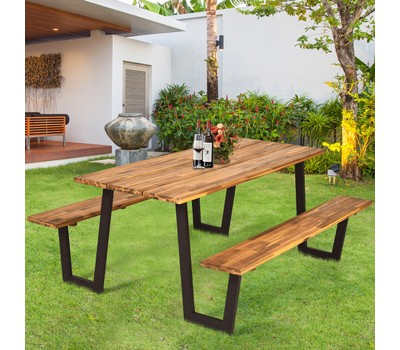 Costway Picnic Table with 2 Benches 70'' Dining Table Set with Seats and Um Was: $599.99 Now: $449.99.