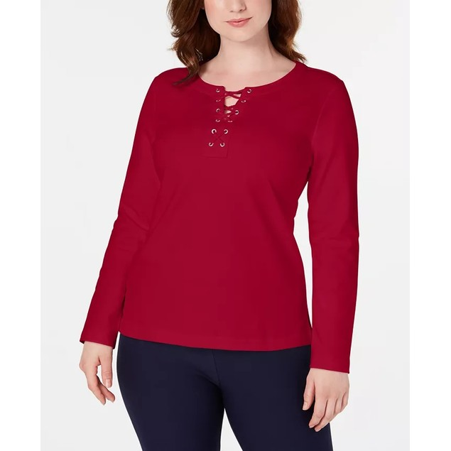 Karen Scott Women's Sport Lace-Up Sweatshirt Bright Red Size Extra Small