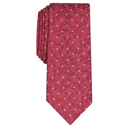 Bar III Men's Iris Skinny Floral Dot Tie Red Size Regular