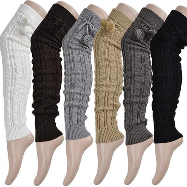 Women's Crochet Knitted Stocking Footless Leg Warmers Thigh High Socks