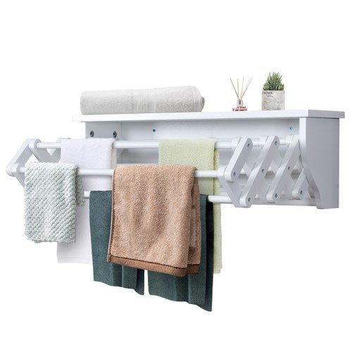 Costway Wall-Mounted Drying Rack Folding Clothes Towel laundry Room Storage