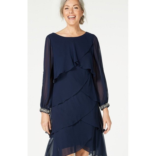 S.L. Fashions Long-Sleeve Tiered Chiffon Dress Navy Size 16