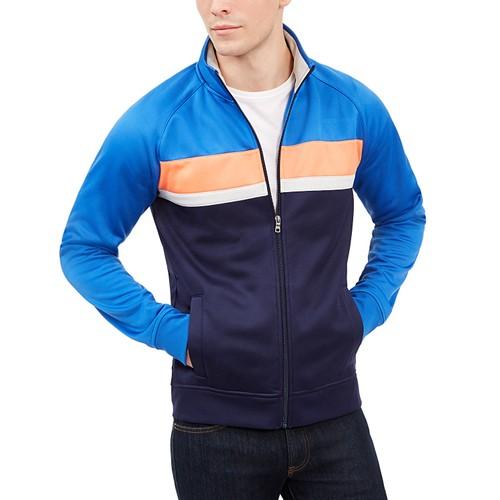 Club Room Men's Chevron Track Jacket Laser Blue Size X-Large