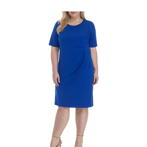 Jessica Howard Women's Plus Size Side-Ruched Dress Blue Size 16