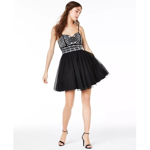 Trixxi Juniors' Embellished Mesh Fit & Flare Dress Black Size 5