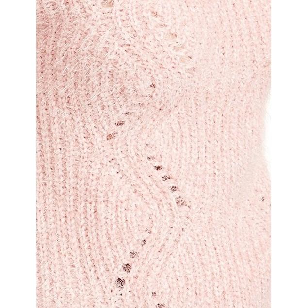 Freshman Juniors' Pointelle Chenille Sweater Pink Size X-Small