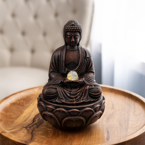 Tabletop Water Fountain- Sitting Buddha Statue with Rolling Glass Ball, Multi-Colored LED Lights, Electric Pump & Soothing Waterfall by Pure Garden