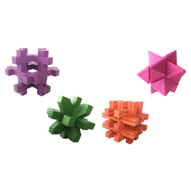 4-Pack Zummy Brain Teasar 3D Wooden  Puzzle Pack