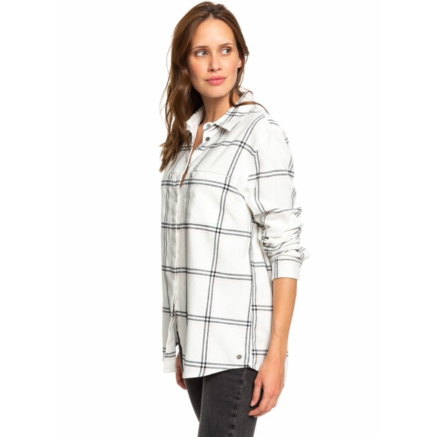 Roxy Women's Young Again 100% Cotton Long Sleeve Button Flannel Shirt, L,