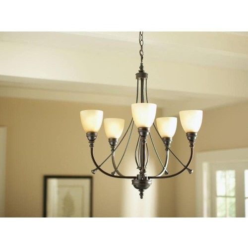 Hampton Bay 15-W 5-Light Tea Stained Glass Shades Oil Rubbed Bronze