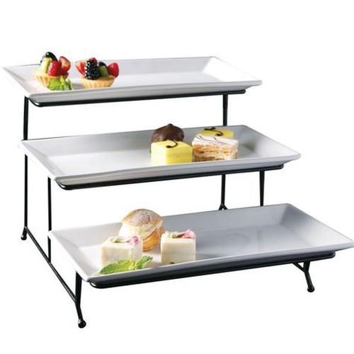 Porcelain 3 Tier Serving Tray Rectangular Dessert Stand Serving Platter