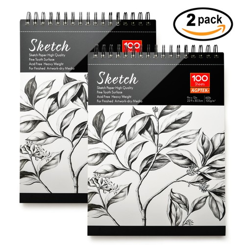 2 PACK SPIRAL SKETCH BOOK 9X12 PAD 100 SHEETS DRAWING PAPER PENCIL PASTEL