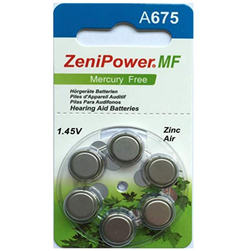 ZeniPower Size 675 MF Zinc Air Hearing Aid Batteries (60 pack)