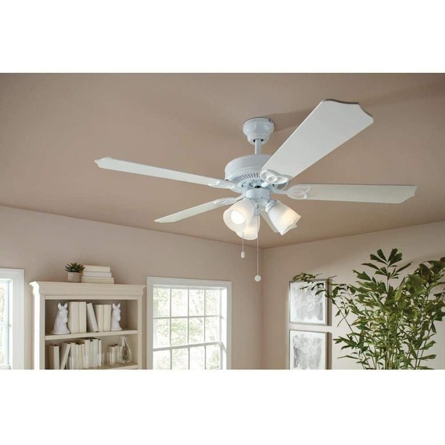 """Brookhurst 52"""" Frosted Glass Shades LED Indoor Ceiling Fan with Light Kit,"""