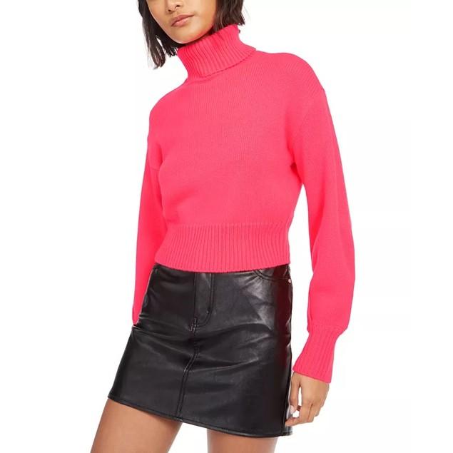 Bar III Women's Cropped Turtleneck Sweater Red Size Large