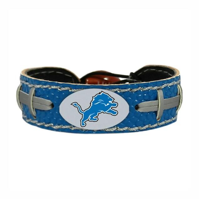 Detroit Lions Team Color NFL Gamewear Leather Football Bracelet
