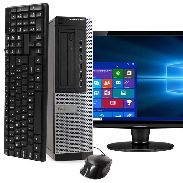"Dell 7010 Desktop Intel i5 16GB 2TB HDD Windows 10 Professional 24"" Monitor"