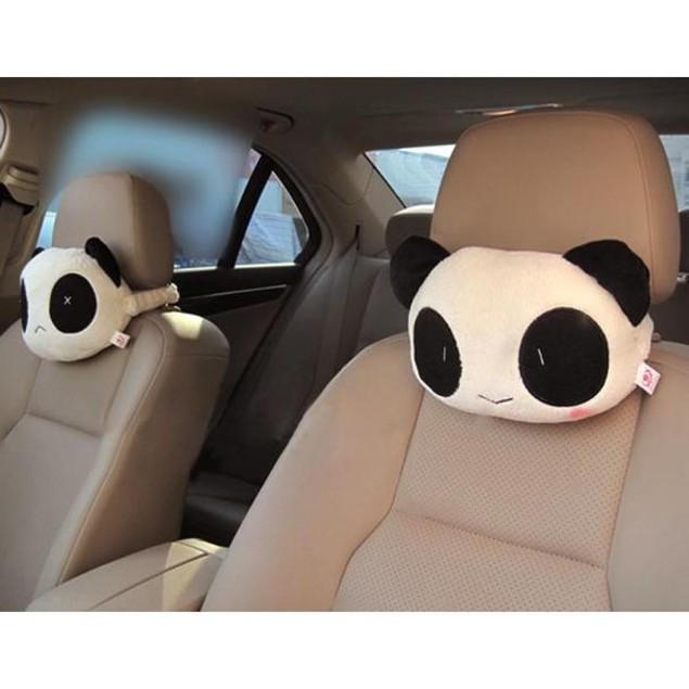 2pcs Panda Car Accessory Automotive Car Plush Pillow Neck Pillow Headrest