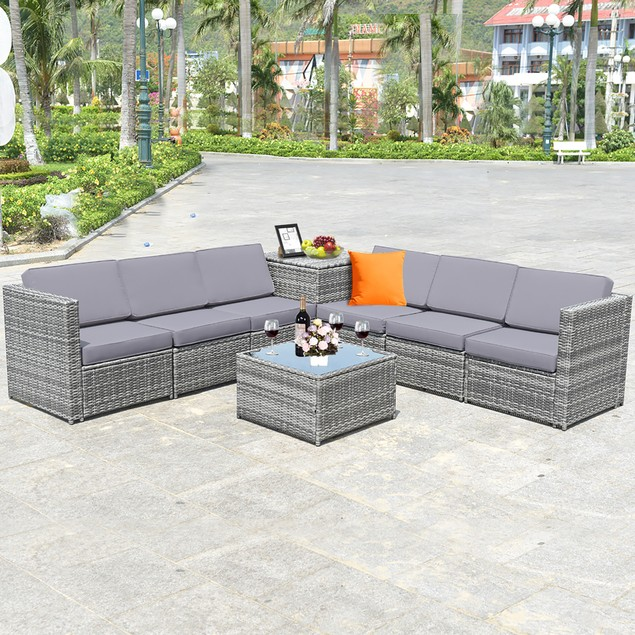 Costway 8 PCS Wicker Rattan Outdoor Sofa Set w/ Storage