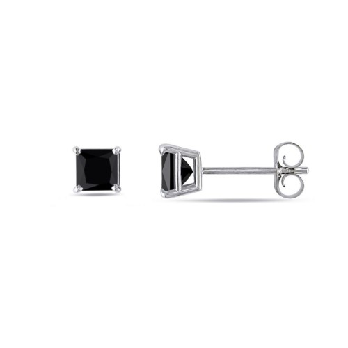 Sterling Silver Square Shape 3mm Black Cubic Zircon Stud Post Earrings.