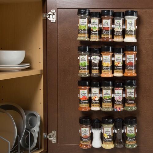 Spice Rack Organizer- Cabinet Gripper Clip Strips for Kitchen