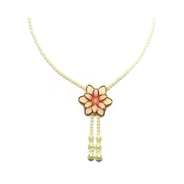 Luxury Tulip Crystals Pearls Long Necklace Set