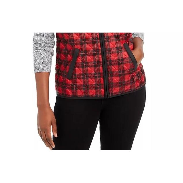Karen Scott Women's Sport Plaid Puffer Vest Bright Red Size Medium
