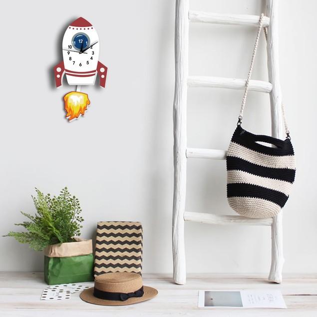 Rocket Shape Child Wall Clock Bedroom Pendulum Watch