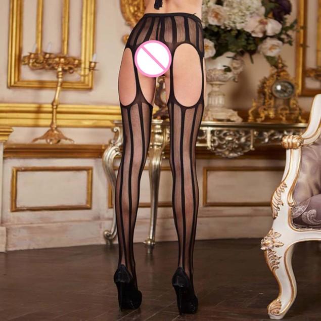 Women's Sheer Strip Thigh-Highs Stockings Garter Belts Suspender Pantyhose