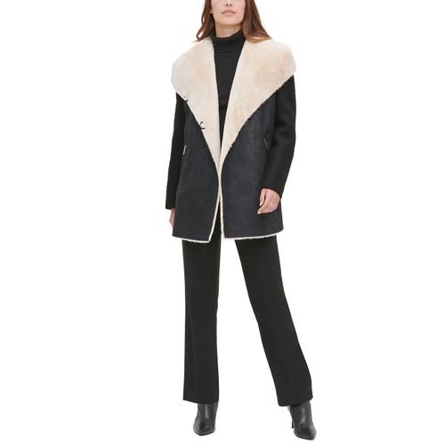Calvin Klein Women's Faux-Fur Faux-Suede Jacket Black Size Extra Large