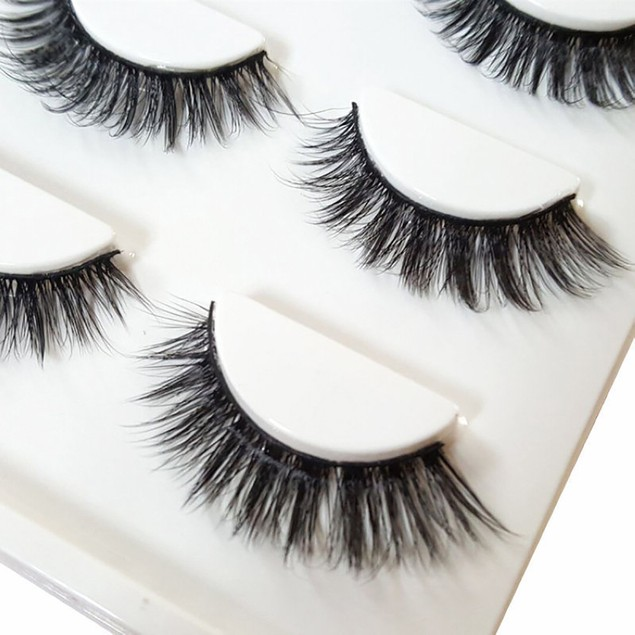 Set of 3 Natural Thick Long Cross Fake Eyelashes