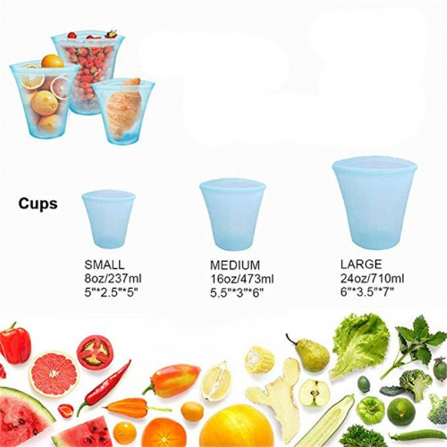 3 Pack: Silicon Cups with Sealer/Zipper