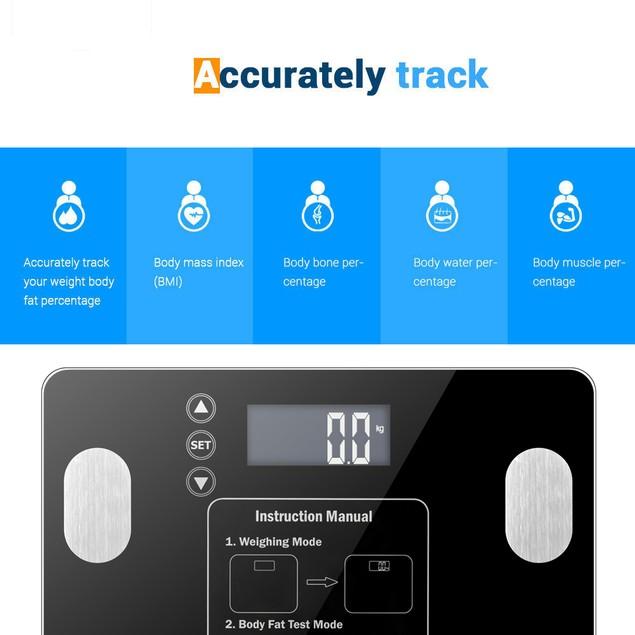 180kg/100g Digital Body Fat Scale Health Analyser Fat Muscle BMI Black