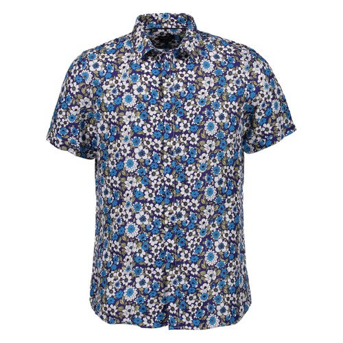 Rosso Milano Modern Fit Short Sleeve Hawaiian Floral Dress Shirt