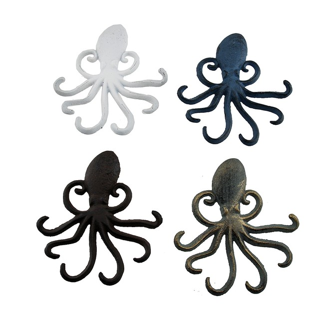 4 Piece Colorful Octopus Shaped Cast Iron Wall Decorative Wall Hooks