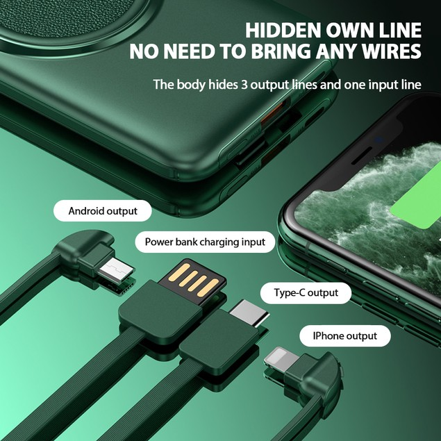 Wireless Power Bank 10000 mAh Multi-Port Output for Type C iphone Android Devices