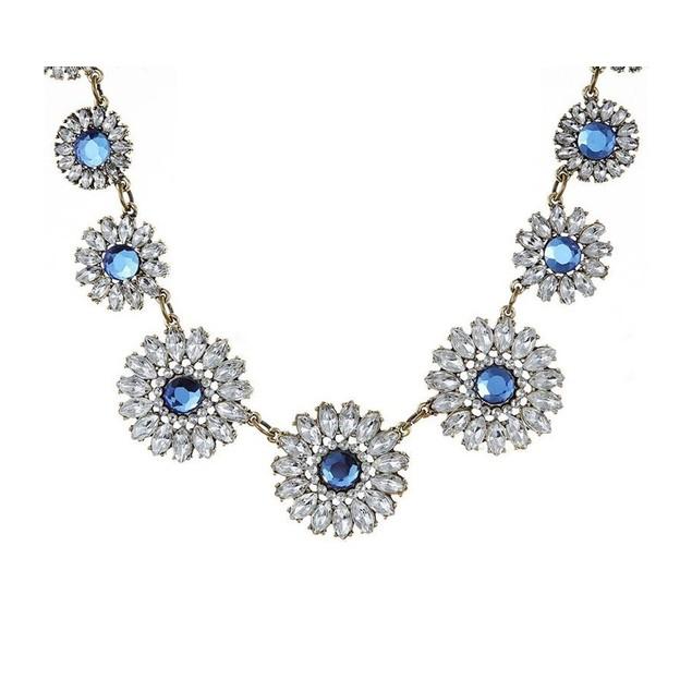 Novadab Charming Daisy Aquamarine Crystals Statement Necklace