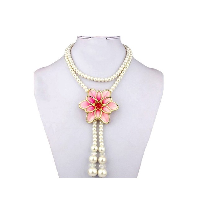 Luxury Tulip Crystals Pearls Long Necklace Set