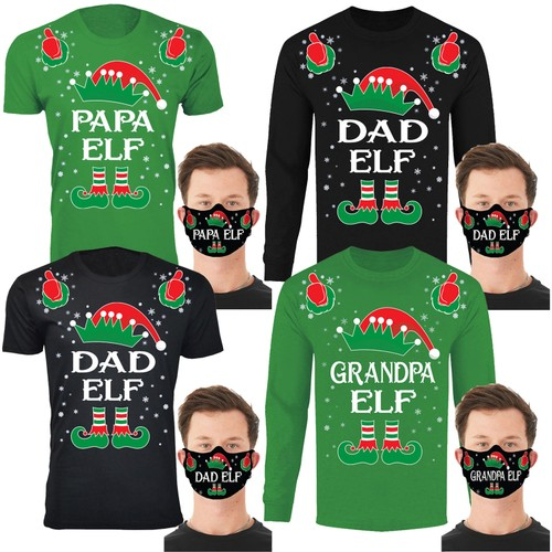 Men's Family Elf Christmas T-Shirts and Long Sleeve Shirts with Free Mask