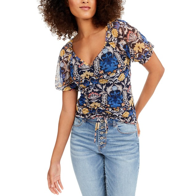 INC International Concepts Wo Printed Ruched-Front Top Navy Extra Large
