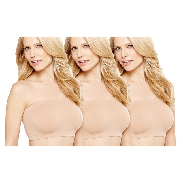 (3-Pack) ToBeInStyle Women's Plus Size Microfiber Shaping Bandeau Tube Bras