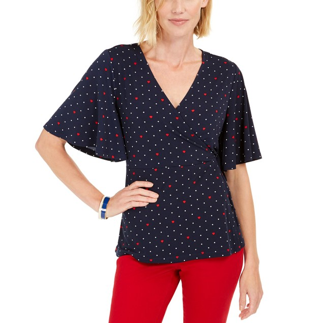 Charter Club Women's Printed Flutter-Sleeve Wrap Top Blue Size XX Large