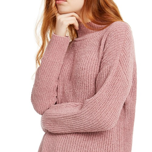Hippie Rose Juniors' Mock-Neck Chenille Sweater Pink Size Large