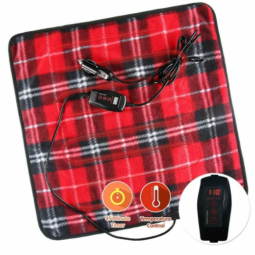 Zone Tech Car Electric Mini Travel Blanket Pad Fleece Red Plaid 45 Timer
